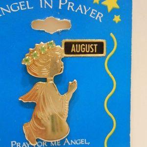 Angel praying August birthstone Pin